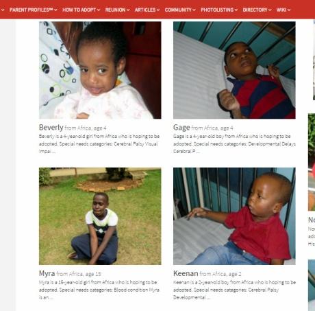Örökbefogadásra váró gyerekek Afrikából az egyik hirdetési oldalon